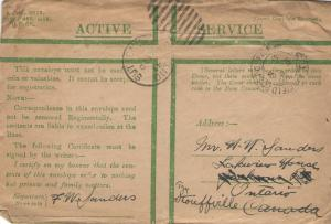 Fred's Active Service Envelope
