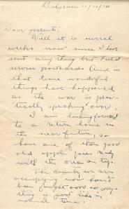 Fred's letter 1918
