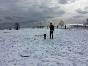 Jada and Gus in snow